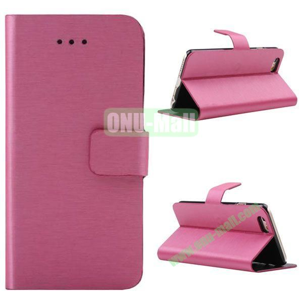 Wire Drawing Texture Leather Case for iPhone 6 Plus 5.5 inch with Card Slots (Rose)
