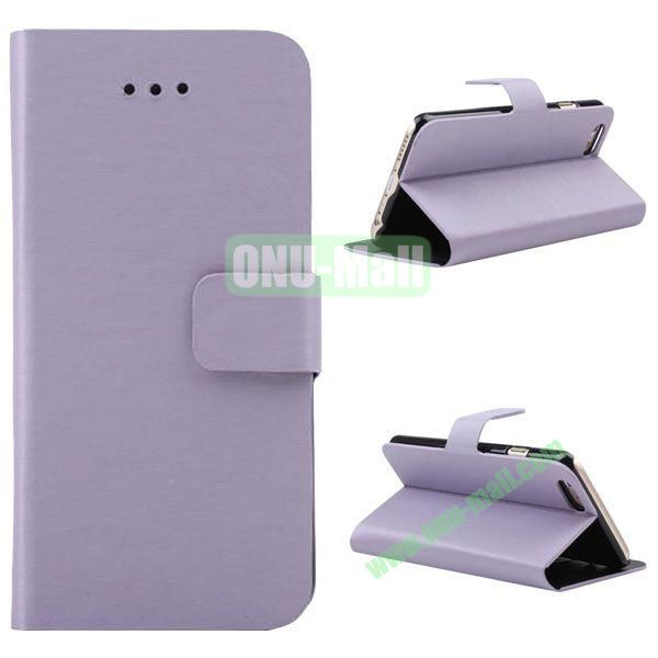 Wire Drawing Texture Leather Case for iPhone 6 Plus 5.5 inch with Card Slots (Purple)