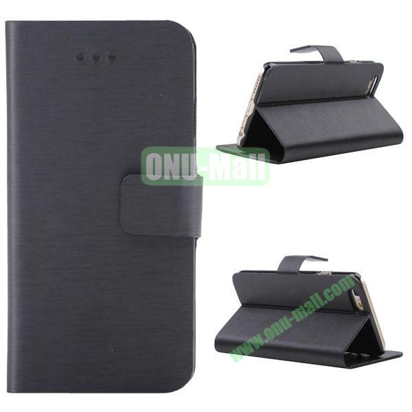 Wire Drawing Texture Leather Case for iPhone 6 with Card Slots 4.7 inch (Black)