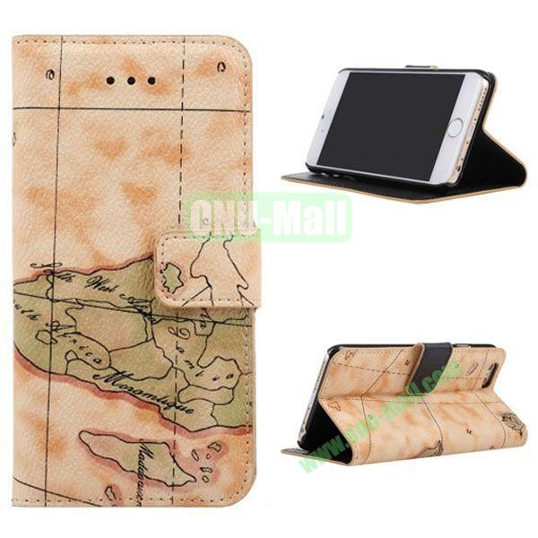 Map Pattern Leather Case for iPhone 6 with Card Slots 4.7 inch (Yellow)