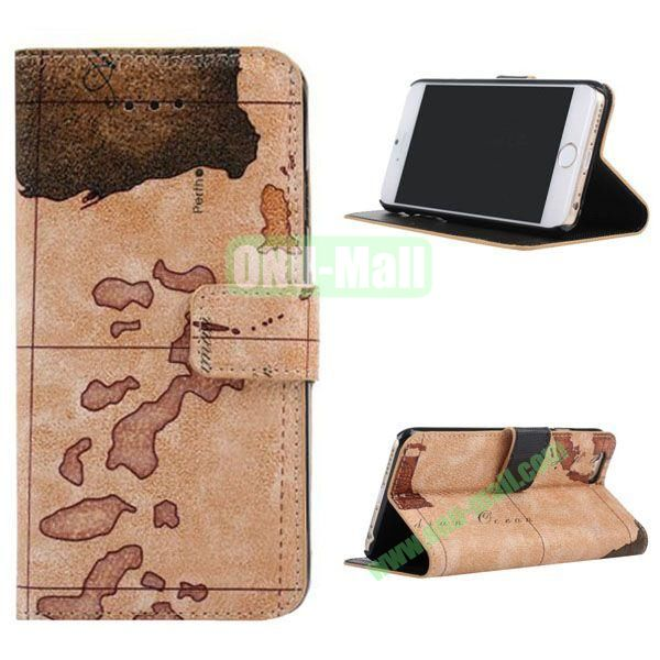 Map Pattern Leather Case for iPhone 6 Plus 5.5 inch with Card Slots (Brown)
