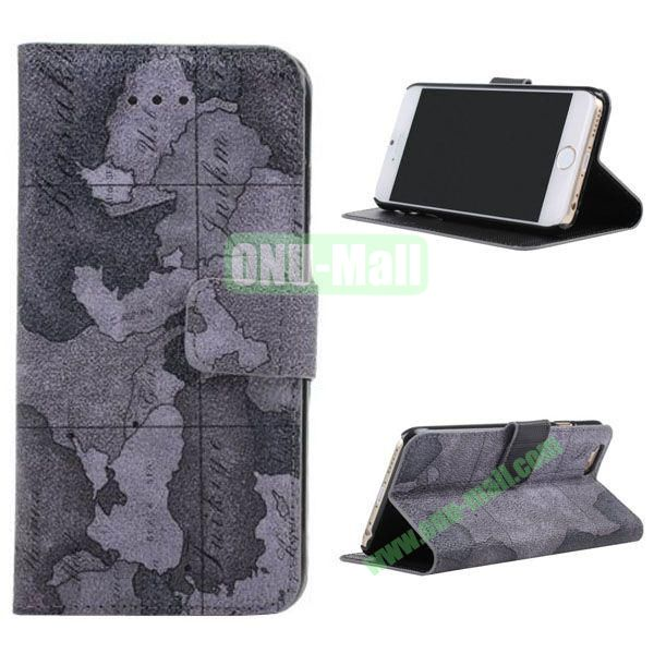 Map Pattern Leather Case for iPhone 6 Plus 5.5 inch with Card Slots (Dark Grey)