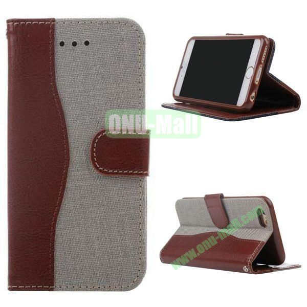 Cowboy Texture Flip TPU+PU Leather Case for iPhone 6 Plus 5.5 inch (Beige)