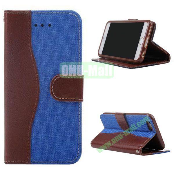 Cowboy Texture Flip TPU+PU Leather Case for iPhone 6 Plus 5.5 inch (Blue)