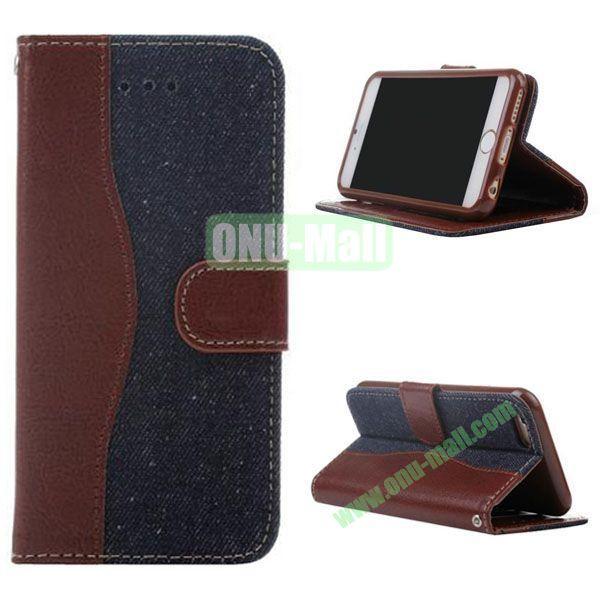 Cowboy Texture Flip TPU+PU Leather Case for iPhone 6 4.7 inch (Dark Blue)