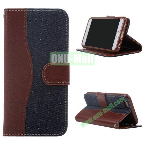 Cowboy Texture Flip TPU+PU Leather Case for iPhone 6 Plus 5.5 inch (Dark Blue)