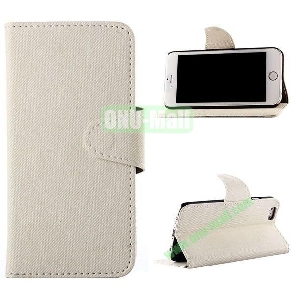 Cowboy Cloth Texture Magnetic Flip Leather Case for iPhone 6 Plus 5.5 inch (White)