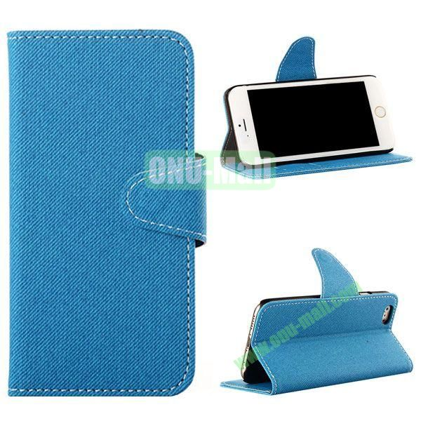 Cowboy Cloth Texture Magnetic Flip Leather Case for iPhone 6 Plus 5.5 inch (Blue)