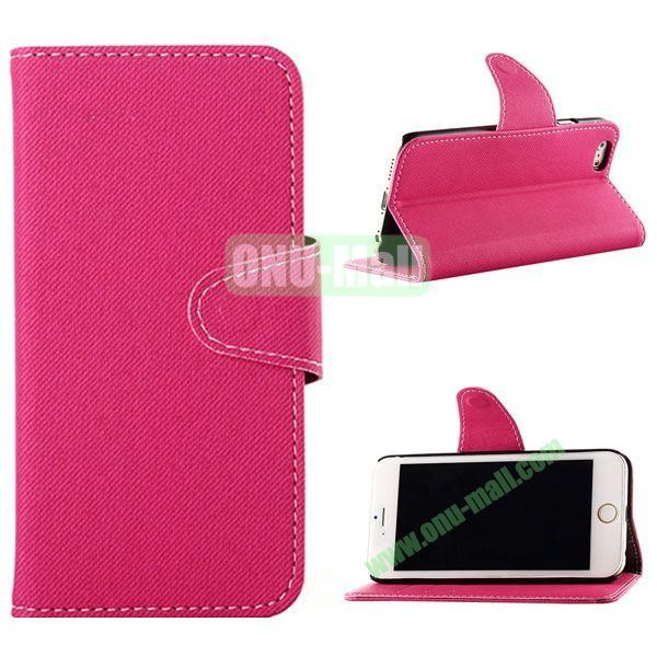 Cowboy Cloth Texture Magnetic Flip Leather Case for iPhone 6 Plus 5.5 inch (Rose)