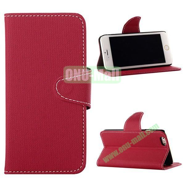Cowboy Cloth Texture Magnetic Flip Leather Case for iPhone 6 Plus 5.5 inch (Red)