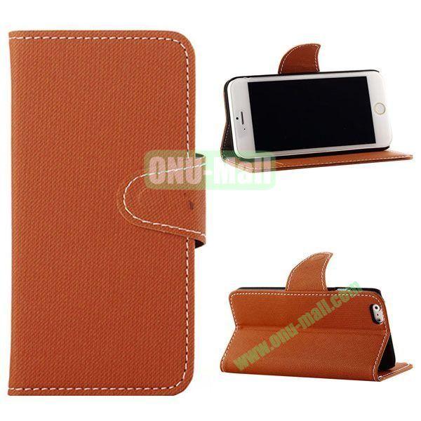 Cowboy Cloth Texture Magnetic Flip Leather Case for iPhone 6 Plus 5.5 inch (Orange)