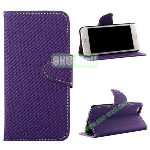Cowboy Cloth Texture Magnetic Flip Leather Case for iPhone 6 Plus 5.5 inch (Purple)
