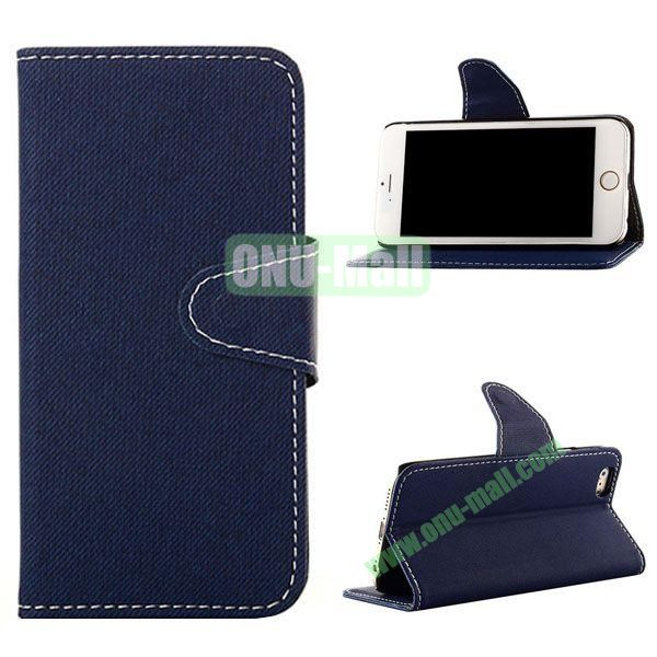 Cowboy Cloth Texture Magnetic Flip Leather Case for iPhone 6 Plus 5.5 inch (Dark Blue)