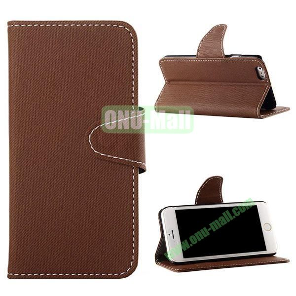Cowboy Cloth Texture Magnetic Flip Leather Case for iPhone 6 Plus 5.5 inch (Brown)