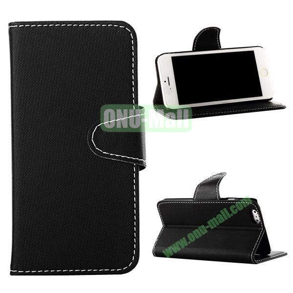 Cowboy Cloth Texture Magnetic Flip Leather Case for iPhone 6 Plus 5.5 inch (Black)
