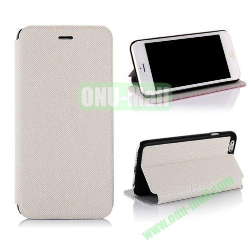 Cowboy Cloth Texture Flip Leather Case for iPhone 6 Plus 5.5 inch (White)