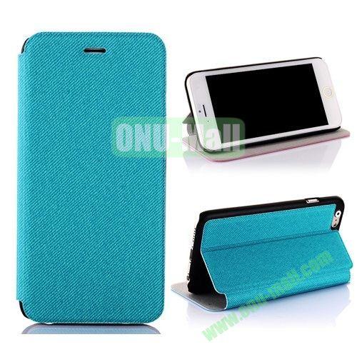 Cowboy Cloth Texture Flip Leather Case for iPhone 6 Plus 5.5 inch (Blue)