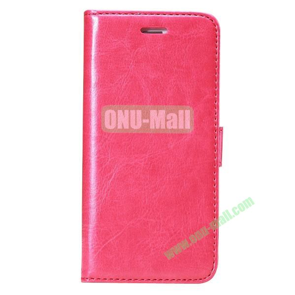 Crazy Horse Texture Folio Style Flip Leather Case for iPhone 6 Plus 5.5 inch with Card Slots (Rose)