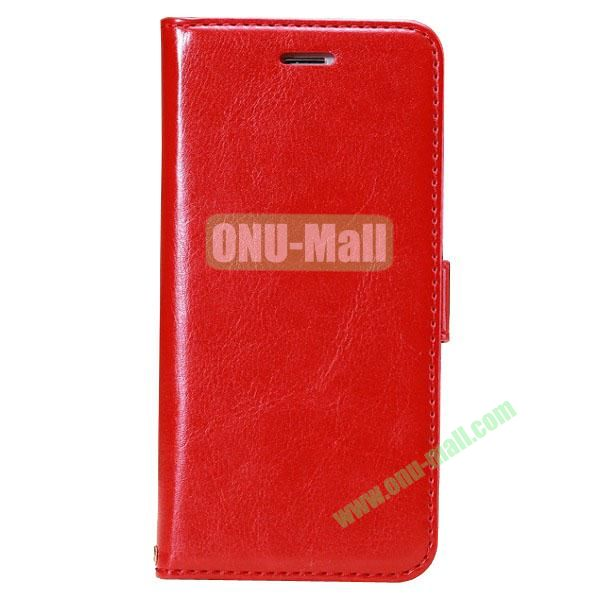 Crazy Horse Texture Folio Style Flip Leather Case for iPhone 6 Plus 5.5 inch with Card Slots (Red)