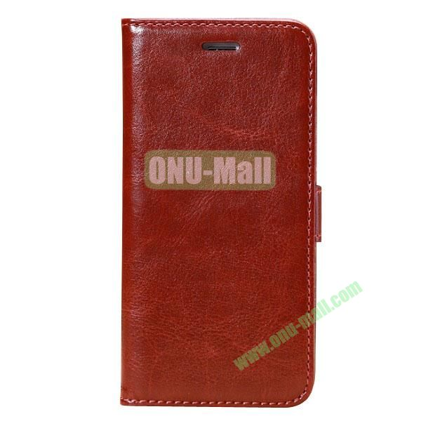 Crazy Horse Texture Folio Style Flip Leather Case for iPhone 6 Plus 5.5 inch with Card Slots (Brown)