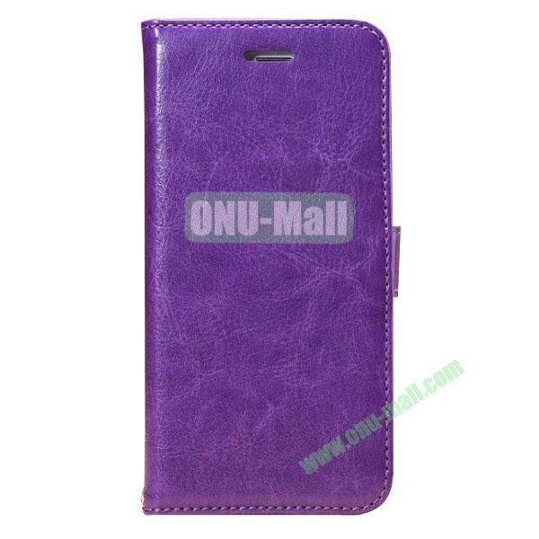 Crazy Horse Texture Folio Style Flip Leather Case for iPhone 6 with Card Slots 4.7 inch (Purple)