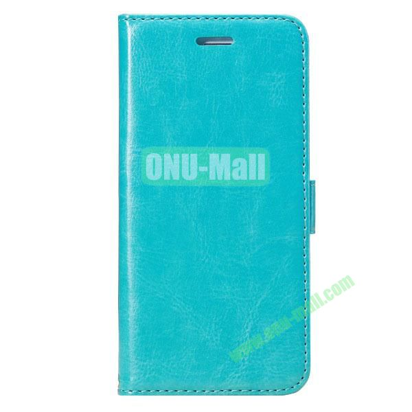 Crazy Horse Texture Folio Style Flip Leather Case for iPhone 6 Plus 5.5 inch with Card Slots (Cyan)