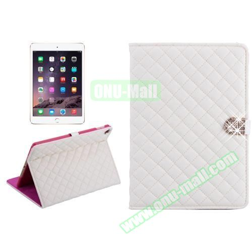 Plaid Texture Diamond Buckle Leather Case for iPad Air 2 (White)