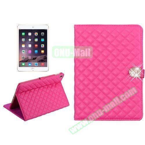 Plaid Texture Diamond Buckle Leather Case for iPad Air 2 (Rose)