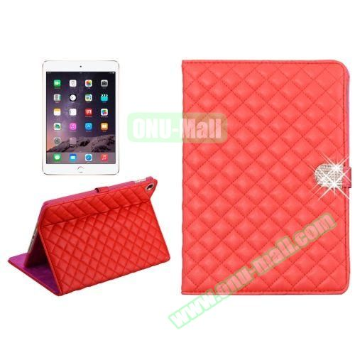 Plaid Texture Diamond Buckle Leather Case for iPad Air 2 (Red)