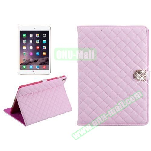 Plaid Texture Diamond Buckle Leather Case for iPad Air 2 (Pink)