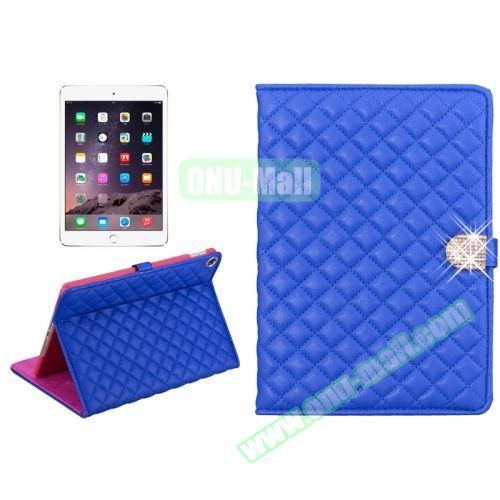 Plaid Texture Diamond Buckle Leather Case for iPad Air 2 (Blue)