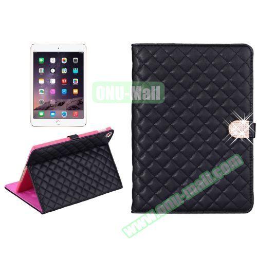 Plaid Texture Diamond Buckle Leather Case for iPad Air 2 (Black)