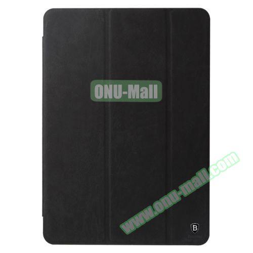 Baseus 3-folding Grace Simplism Series Leather Smart Cover for iPad Air 2 (Black)