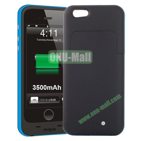 3500mAh Mophie External Power Bank Charger Pack Backup Battery Case for iPhone 6 4.7 (With Mophie logo) (Blue)
