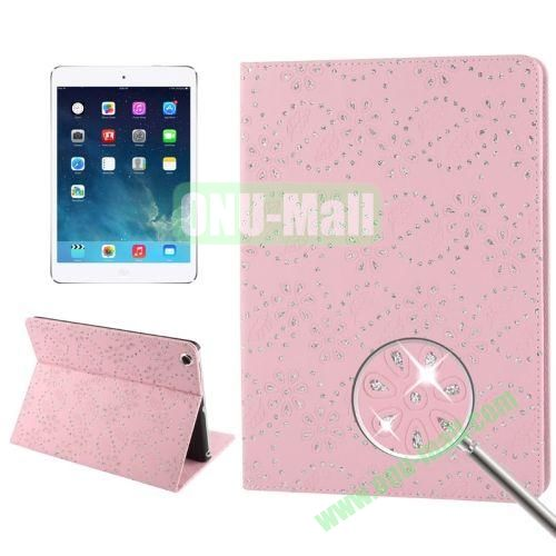 Diamond Encrusted Flower Pattern Leather Case with 3 Gears Holder & Sleep  Wake-up Function for iPad Air (Pink)