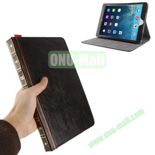 Retro Bookbook Style Flip Leather Case with Holder for iPad Air