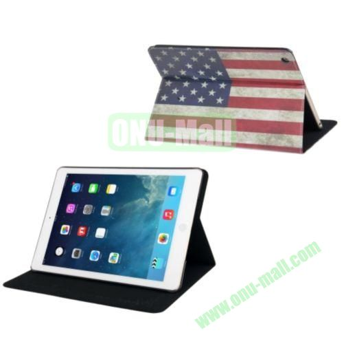 Retro USA Flag Pattern Leather Case with Holder & Sleep  Wake-up Function for iPad Air