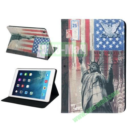 Retro Statue of Liberty Pattern Leather Case with Holder & Sleep  Wake-up Function for iPad Air