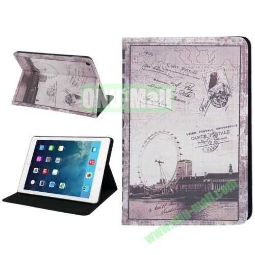 Retro London Eye Pattern Leather Case with Holder & Sleep  Wake-up Function for iPad Air