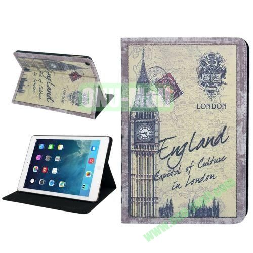 Retro Big Ben Pattern Leather Case with Holder & Sleep  Wake-up Function for iPad Air