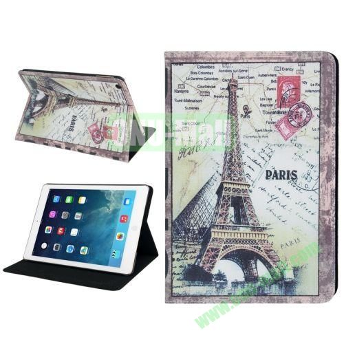 Retro Eiffel Tower Pattern Leather Case with Holder & Sleep  Wake-up Function for iPad Air