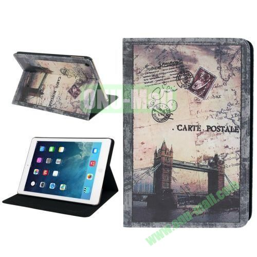 Retro London Bridge Pattern Leather Case with Holder & Sleep  Wake-up Function for iPad Air