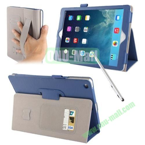 Multifunctional Sheepskin Texture Leather Case with Holder & Credit Card Slots & Elastic Hand Strap & Touch Pen for iPad Air (Blue)