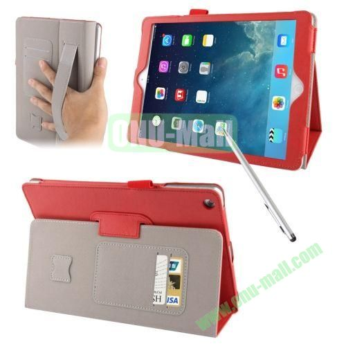 Multifunctional Sheepskin Texture Leather Case with Holder & Credit Card Slots & Elastic Hand Strap & Touch Pen for iPad Air (Red)