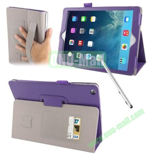 Multifunctional Sheepskin Texture Leather Case with Holder & Credit Card Slots & Elastic Hand Strap & Touch Pen for iPad Air (Purple)