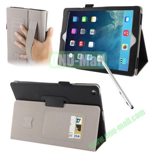 Multifunctional Sheepskin Texture Leather Case with Holder & Credit Card Slots & Elastic Hand Strap & Touch Pen for iPad Air (Black)