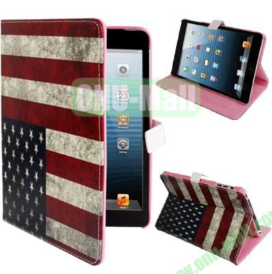 Retro USA Flag Pattern Leather Cover for iPad Mini with Sleep  Wake-up Function & Holder