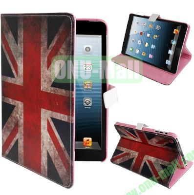 Retro UK Flag Pattern Leather Cover for iPad Mini with Sleep  Wake-up Function & Holder