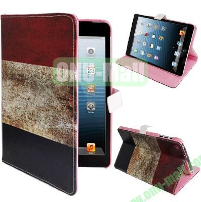 Retro France Flag Pattern Leather Cover for iPad Mini with Sleep  Wake-up Function & Holder