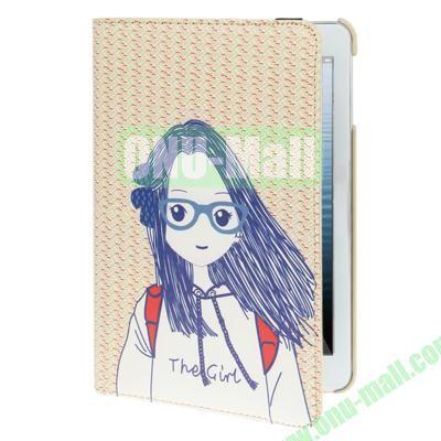 Cartoon Girl Pattern 360 Degree Rotation Leather Cover for iPad Mini Retina